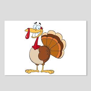 funny grinning happy turkey cartoon Postcards (Pac