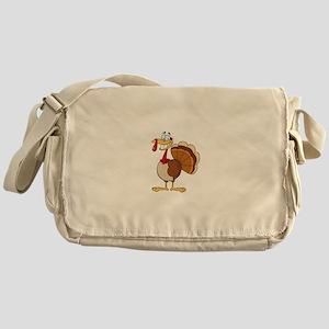 funny grinning happy turkey cartoon Messenger Bag