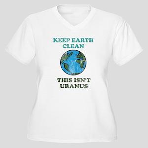 Keep earth clean isn't uranus Women's Plus Size V-