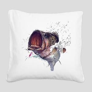 Bass breaking through shirt Square Canvas Pillow