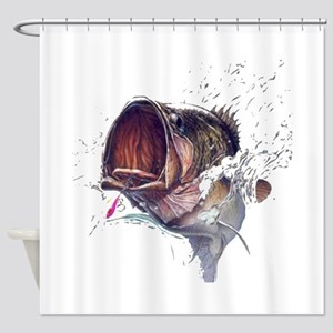 Bass breaking through shirt Shower Curtain