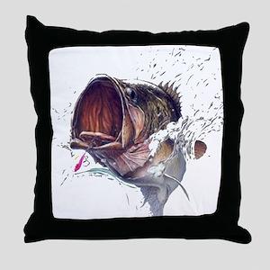 Bass breaking through shirt Throw Pillow
