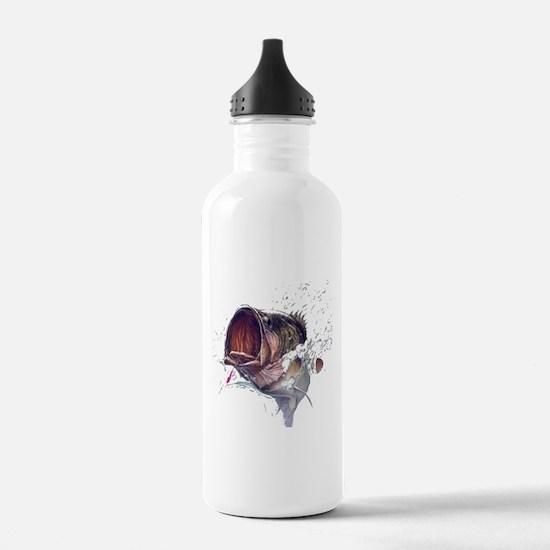 Bass breaking through shirt Water Bottle