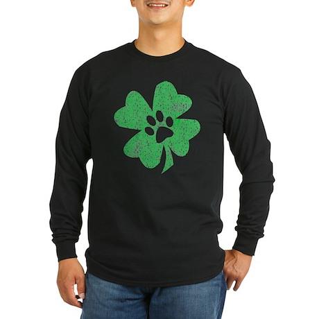 St Patty's Paw Long Sleeve Dark T-Shirt