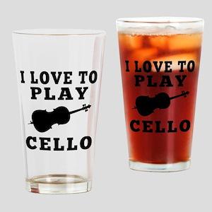 I Love Cello Drinking Glass