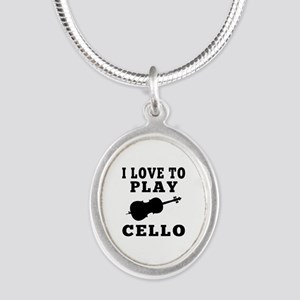 I Love Cello Silver Oval Necklace