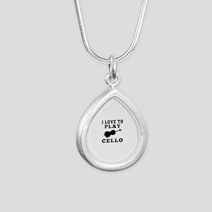 I Love Cello Silver Teardrop Necklace