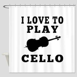 I Love Cello Shower Curtain