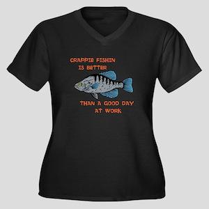 Crappie fishing Women's Plus Size V-Neck Dark T-Sh