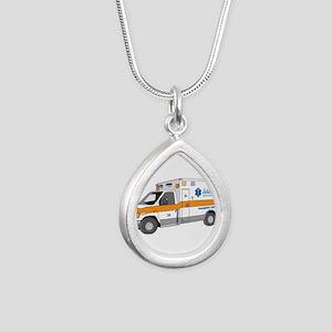 Ambulance Silver Teardrop Necklace