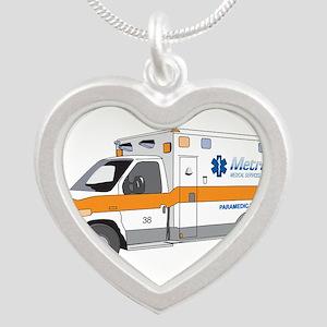 Ambulance Silver Heart Necklace