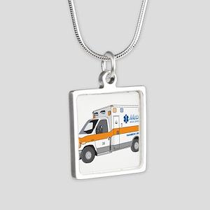 Ambulance Silver Square Necklace