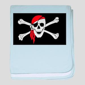 Red Bandana Pirate Flag baby blanket