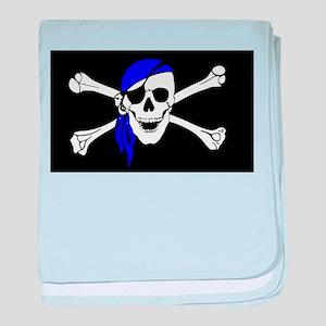 Blue Bandana Pirate Flag baby blanket