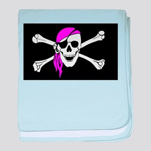 Pink Bandana Pirate Flag baby blanket