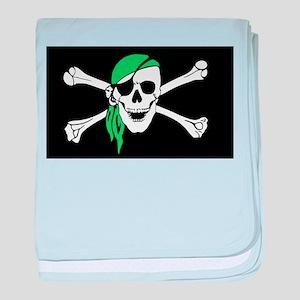 Green Bandana Pirate Flag baby blanket