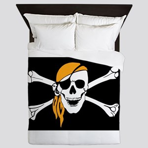 Orange Bandana Pirate Flag Queen Duvet