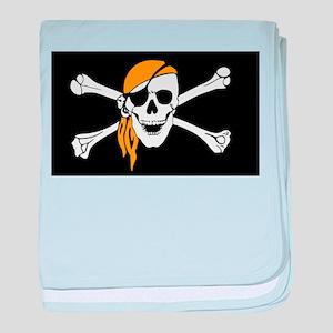 Orange Bandana Pirate Flag baby blanket