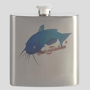 Cat fishin shirt Flask