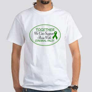 Cerebral Palsy Support Ribbon White T-Shirt