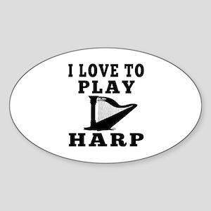 I Love Harp Sticker (Oval)
