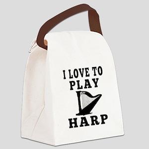I Love Harp Canvas Lunch Bag