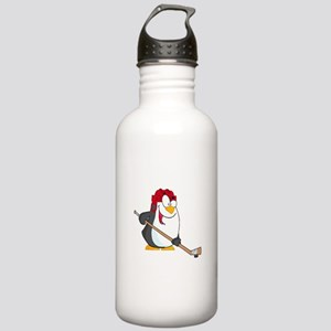 funny penguin playing ice hockey cartoon Stainless