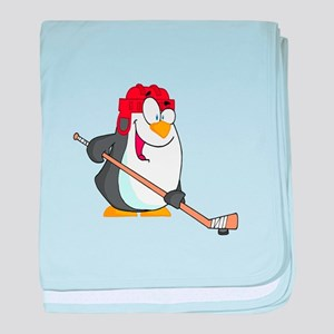 funny penguin playing ice hockey cartoon baby blan