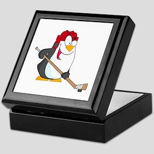 funny penguin playing ice hockey cartoon Keepsake