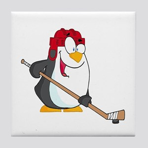 funny penguin playing ice hockey cartoon Tile Coas
