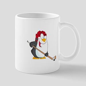 funny penguin playing ice hockey cartoon Mug