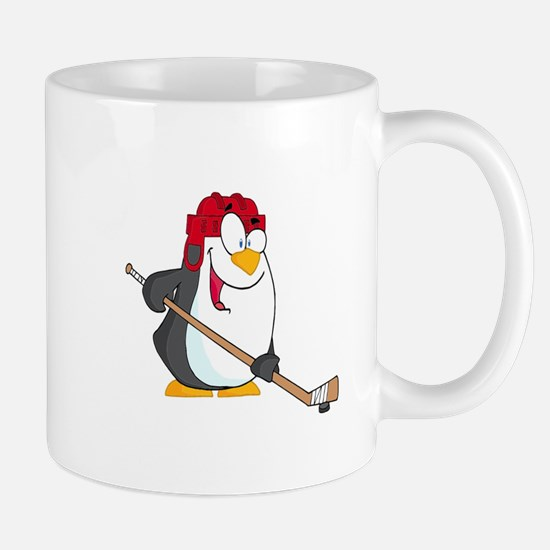funny penguin playing ice hockey cartoon Mug
