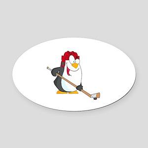 funny penguin playing ice hockey cartoon Oval Car