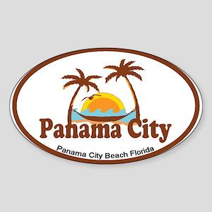 Panama City - Palm Tree Designs. Sticker (Oval)