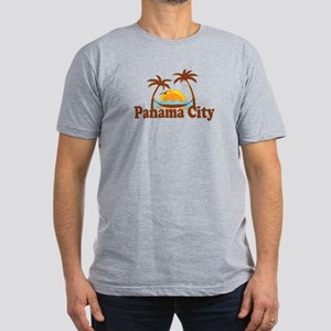 Panama City - Palm Tree Designs. Men's Fitted T-Sh