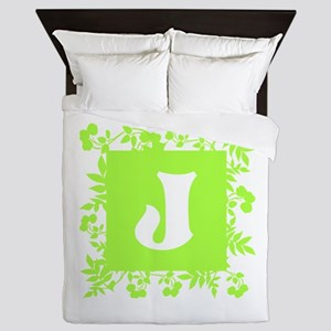 Plants and Letter J. Queen Duvet