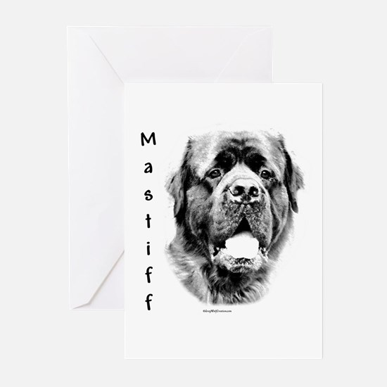 Mastiff (fluffy) Charcoal Greeting Cards (Package