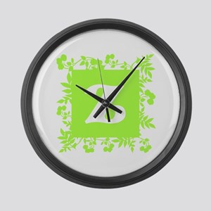 Plants and Letter Z. Large Wall Clock