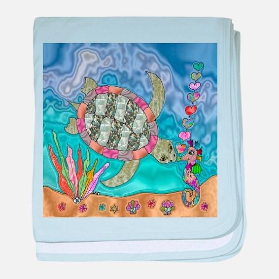 Sea Turtle Sea Horse Art baby blanket