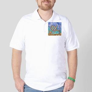 Sea Turtle Sea Horse Art Golf Shirt