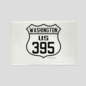 US Route 395 - Washington Rectangle Magnet