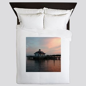 Roanoke Marshes Lighthouse at Dusk Queen Duvet