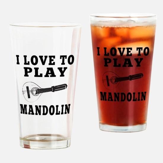 I Love Mandolin Drinking Glass