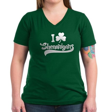 I Shamrock Shenanigans Women's V-Neck Dark T-Shirt