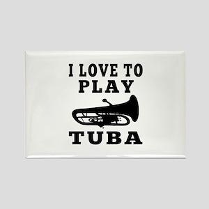 I Love Tuba Rectangle Magnet