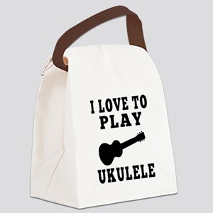 I Love Ukulele Canvas Lunch Bag