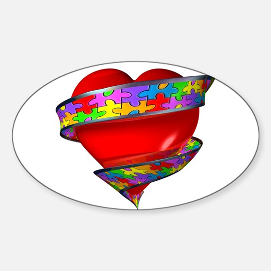 Red Heart w/ Ribbon Decal