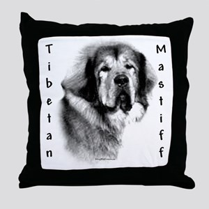 Tibetan Mastiff Charcoal Throw Pillow
