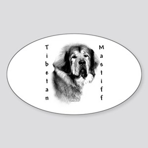 Tibetan Mastiff Charcoal Oval Sticker