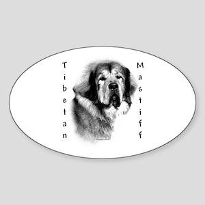 Tibetan Mastiff Charcoal Oval Sticker